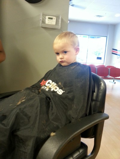 Titus getting a haircut at Sports Clips