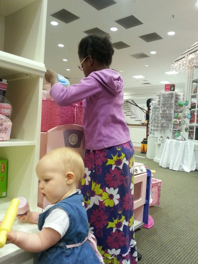 Girls playing at the Cabbage Patch Store