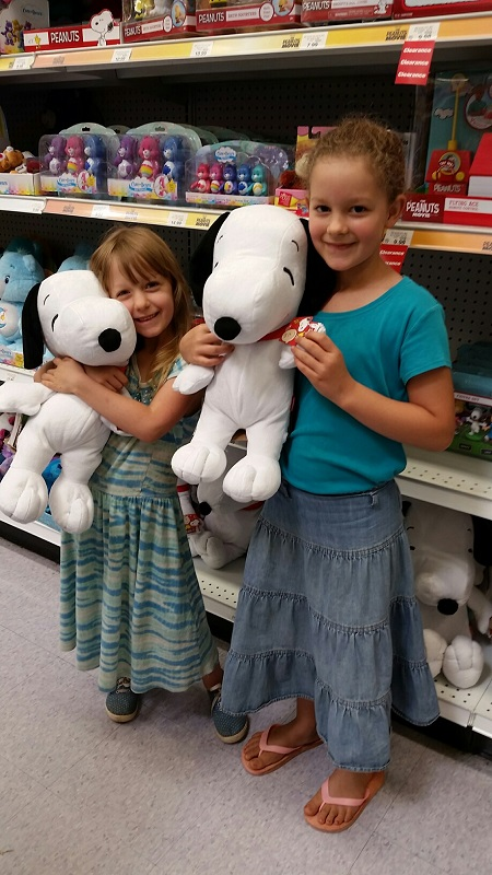 Abigail and Eden with Snoopy
