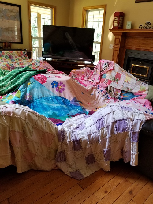 Girl's blanket fort