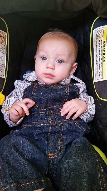 Micah in his overalls