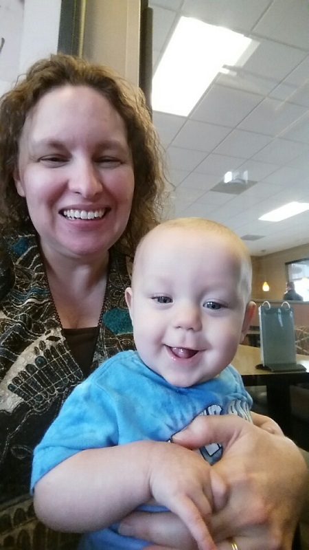 Mommy and Micah at Chick Fil A